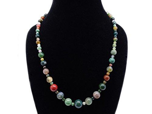 jennysun2010 Handmade Natural Indian Agate Gemstone Beads 4~12mm Graduated Adjustable Necklace Healing (18 Adjustable up to 30)