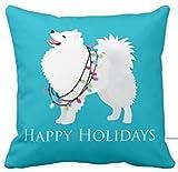 Unique Style American Eskimo Dog Happy Holidays Design Cover Square Pillowcase 18x18 Inch
