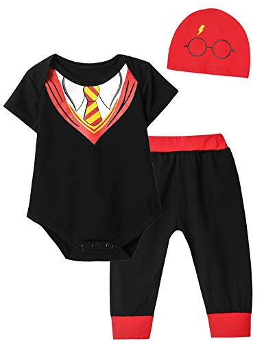 Infant Creeper Number (Crazybee 3Pcs/Set Baby Boy Girl Infant Snuggle This Rompers (Y&Black03, 0-3 Months))