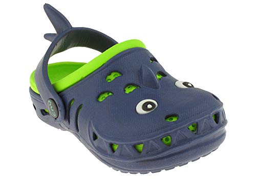 Back Strap Clog - Capelli New York Toddler Boys Land Shark Clog with Back Strap Navy Combo 10/11