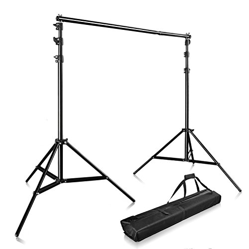 Happyjoy Heavy Duty 10FT Telescopic Aluminum Alloy Adjustable 10ft X 9ft Pro Portable Backdrop Support System Kit Tripod with Carry Bag Photo Studio Backgrounds Kit (Heavy Duty Photo Backdrop Stand)