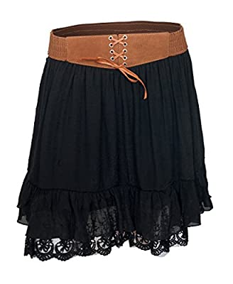eVogues Women's Lace Hem Chiffon Mini Skirt Black