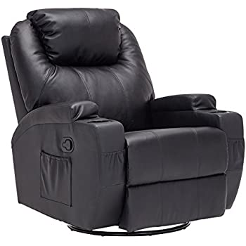 Mecor Heated Recliner Chair, Bonded Leather Massage Chair With Control And  Cup Holder For Living