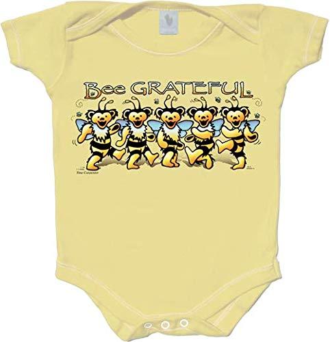 Licensed Grateful Dead Bee Grateful One Piece Romper by Dye The Sky (Medium) Yellow