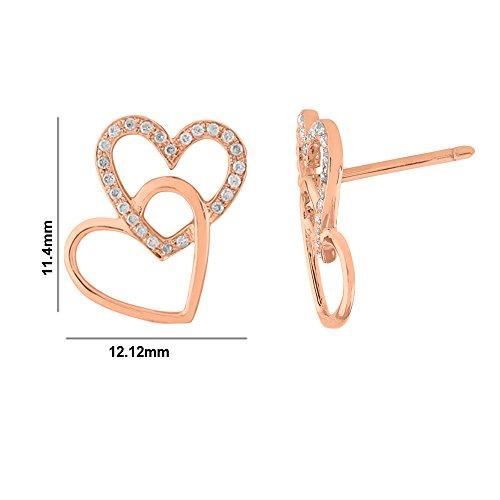 Libertini Boucle d'oreille argent 925 plaque or Rose serti de Diamant en forme de Coeur