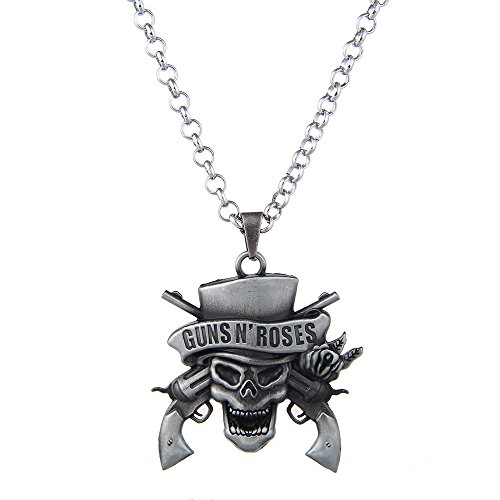 LUREME Vintage Jewelry Guns Skull Pendant Necklace for GNR Fans-Silver (nl005609-2)