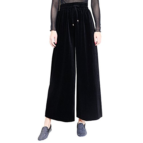 Ccassie Women High Waist Velvet Drawstring Wide Leg Palazzo Lounge Pants Sweatpants Trousers Stretchy (Black Velvet Trousers)