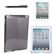 HDE Clear Color iPad Hard Case Plastic Back Cover + Screen Protector + Stylus Pen for iPad 2 iPad 3 iPad 4 (iPad 2/3/4, Grey)