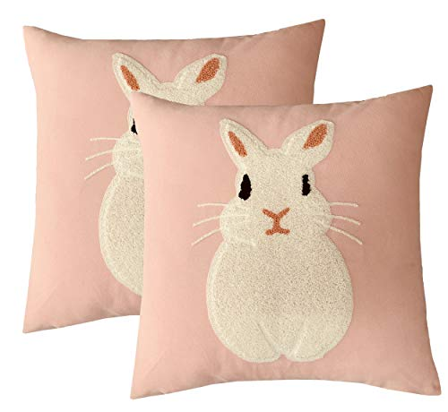 BLUETTEK Happy Easter Rabbit Couch Pillow Covers, Cute Colorful Fresh Spring Home Decorative Cotton Embroidery Cushion Covers 18 x 18, Set of 2 (Pink) - Medium Pink Rabbit