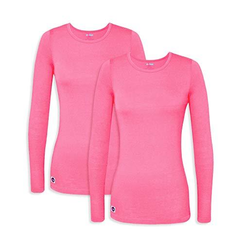 Sivvan 2 Pack Women's Comfort Long Sleeve T-Shirt/Underscrub Tee - S85002 - Neon Pink - 3X