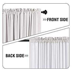 H.VERSAILTEX Window Treatment Rod Pocket 100% Blackout Curtains for Living Room 84 Inches Length, Waterproof Thermal Insulated Natural Curtains with White Backing, 2 Panels, 2 Bonus Tie-Backs