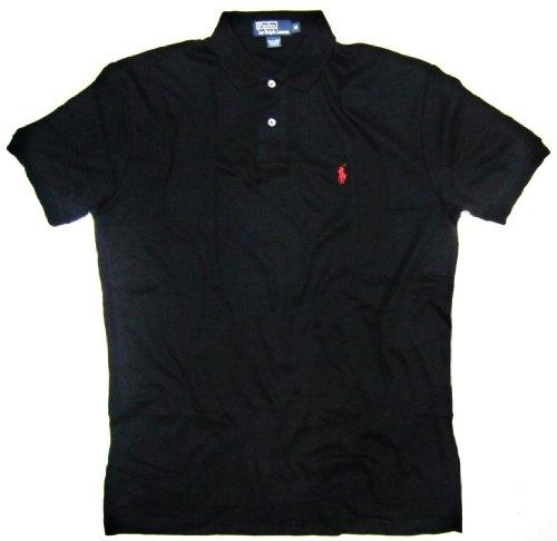 Polo Ralph Lauren Men's Interlock Polo Shirt in Black, Red Pony (Custom Fit) (Small / S)