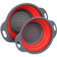 Cerberus & Co. Collapsible Colander Set of 2, BPA Free, Eco-Friendly, Dishwasher Safe, Kitchen Vegetable Fruit Strainer…