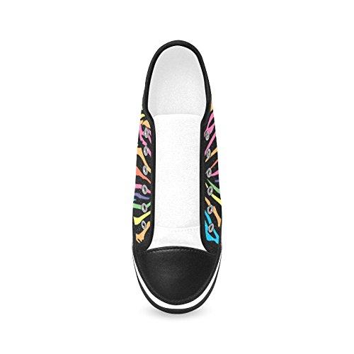 D-story Anpassade Rainbow Zebra Kvinna Halkfria Tygskor Mode Sneaker