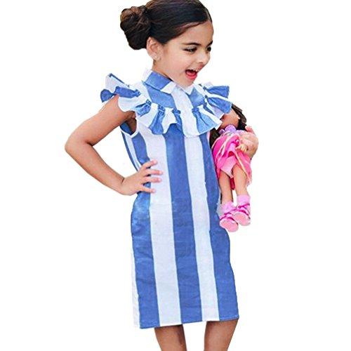 Goodlock Toddler Kids Fashion Dress Girls Dress Stripe Lotus Leaf Edge Cotton Sleeveless Children Dress (Size:3T)