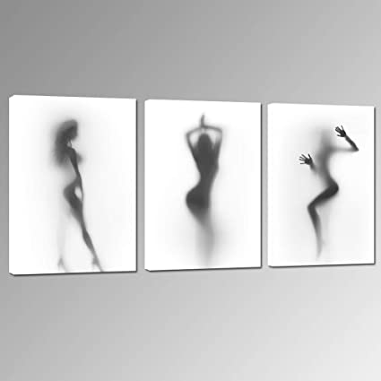 Sea Charm - Sexy Nude Woman Photos Bedroom Decoration Print on Canvas,Naked  Girl in the Shower Hazy Shadow Wall Art,Modern 3 Pieces Canvas Art Ready