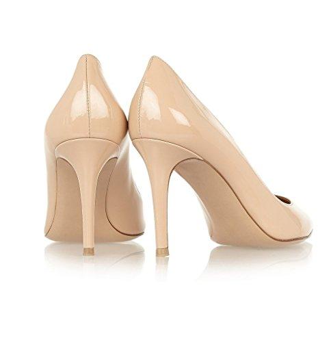 Patent High Stiletto Pointed beige Elashe Spisse beige Hæler Elegante Women 8cm Shoes Elegante 8cm Toe Heels Kvinner Domstol Høye Pumper Patent Sko Elashe Tå Pumps Stiletto Court 5RazqRw