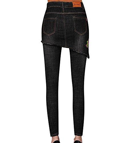 Slim Jeans Stirata Nero Femminili Strappati Pantaloni Skinny Donne ztpxnvp
