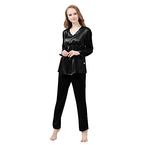 LULUSILK Conjunto de Pijama Largo de Seda 22 Momme Escote V con Cordón Negro