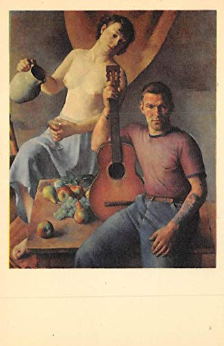 Nude Woman and Man with Guitar Sailor's holiday Robert Brackman, American 1898 - Postcard Unused