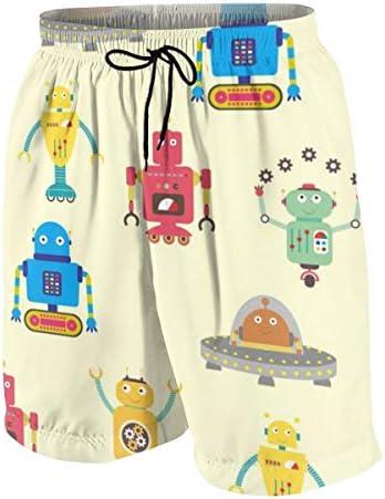 キッズ ビーチパンツ かわいい ロボット 漫画 サーフパンツ 海パン 水着 海水パンツ ショートパンツ サーフトランクス スポーツパンツ ジュニア 半ズボン ファッション 人気 おしゃれ 子供 青少年 ボーイズ 水陸両用