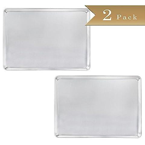 Set of 2 - TrueCraftware 18 Gauge Aluminium Commercial Baker's 2/3 Size Sheets / Baking Trays / Pan / 15 x - 2/3 Baking Pan