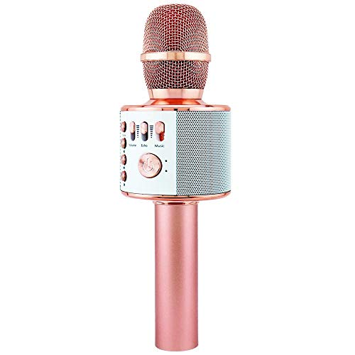 DaCalie Karaoke Microphone Wireless Bluetooth includes Smartphone Holder + FREE Christmas Gift, 4-in-1 Portable Handheld karaoke Machine Mic with Speaker for iPhone/Android/iPad/PC (Rose Gold)