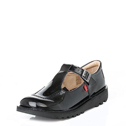 Kickers Womens Kick T BAR Mary Jane Black Leather Flat School Shoes Size 5