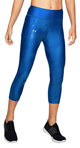 Under Armour Women's Fly-By Printed Capri,Lapis Blue /Reflective, X-Small