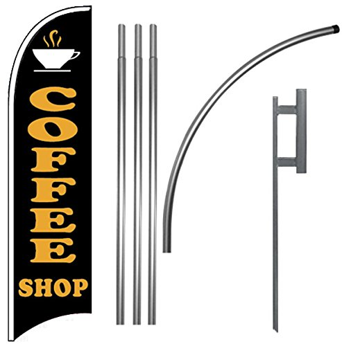 Coffee Shop Windless Feather Swooper Flag Banner Sign Kit (Flag Banner Sign)