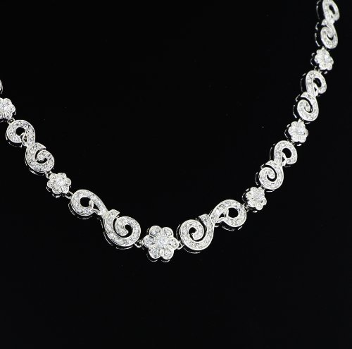 White Gold Plated (Rhodium Plated) 925 Sterling Silver with Cubic Zirconia Spiral Necklace ()