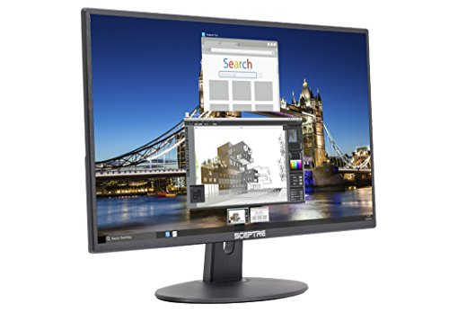 "Sceptre E205W-16003R 20"" 75Hz Ultra Thin Frameless LED Monitor 2x HDMI VGA Build-in Speakers, Metallic Black 2018"