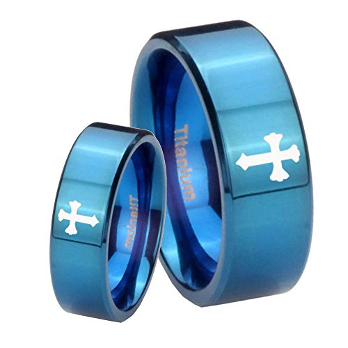 His and Hers 2 pcs Titanium Christian Cross Etch Blue IP Pipe Cut Wedding Ring Set Size 7, 11