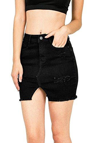 Black Label by C'est Toi Women's Juniors High Waist Stretchy Denim Skirt (L, Black)