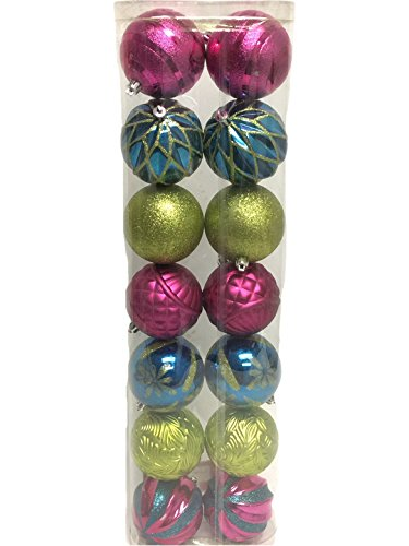 Christmas Ornaments Traditional 80mm Shatterproof, Set of 14, Fuschia, Light Green & Teal Fuschia Ornaments