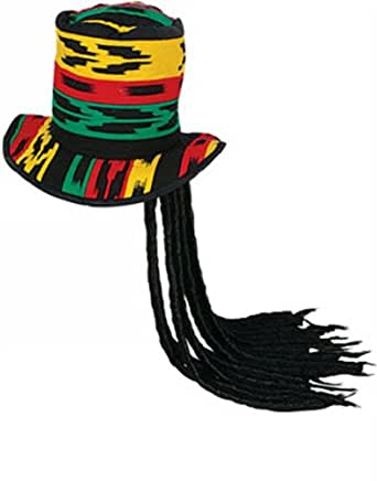 New Rasta Costume Top Hat with Dreadlocks Dreads Wig