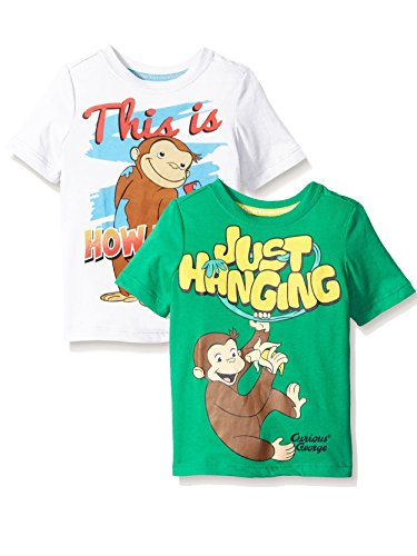 - Curious George Boy's 2 Pack Short Sleeve T-Shirt Set (3T, Green/White)