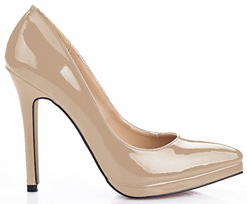 leather heel shoes red varnished Click women fall women's at high color the model show the point Nude of 6BHZ6