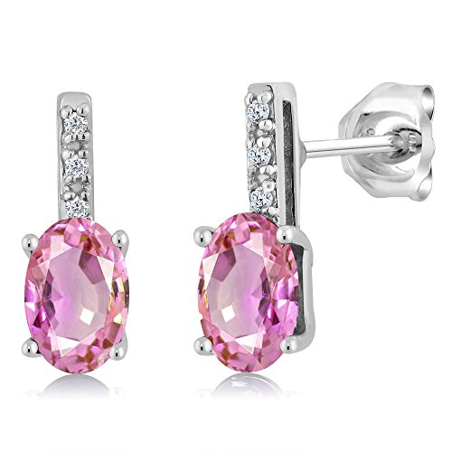 Gem Stone King 1.10 Ct Oval 6x4mm Pink Sapphire and Diamond 14K White Gold Stud Earrings