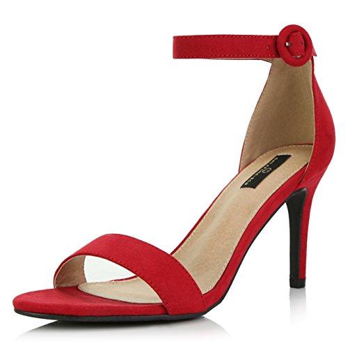 DailyShoes Women's Stilettos Open Toe Pump Ankle Strap Dress High Heel Sandals, Red Suede, 6 B(M) US