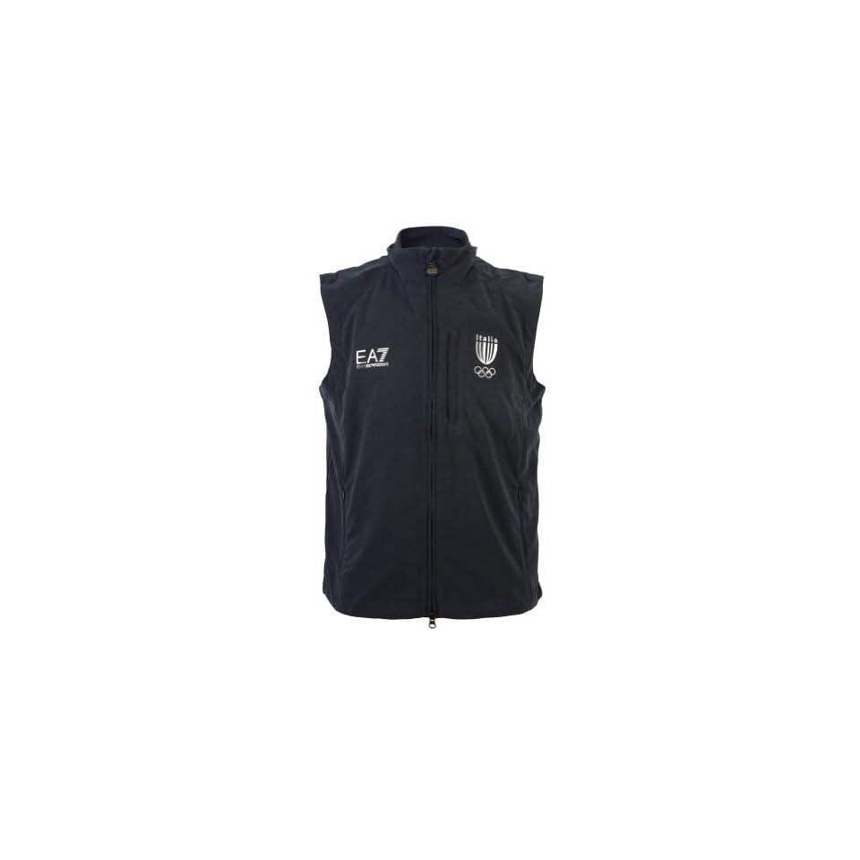 Emporio Armani EA7 Mens Italia Team Sleeveless Track Jacket Vest US S / EU 48 Dark Blue