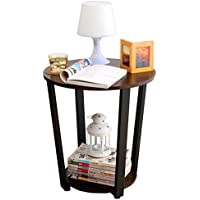 1208S Round Sofa End Table Small Spaces Living Room Coffee Tables Side Table, Walnut Black