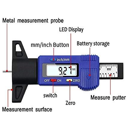 Schwarz, Schwarz Kunststoff HoganeyVan Elektronische Digitalanzeige Reifen Muster Tiefenskala 0-25mm Messschieber Auto Rad Reifen Messuhr Detektor