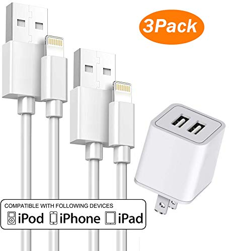 iPhone Cable with Wall Plug, V.I.P 2-Port USB Wall Charger Dual Port Adapter Block 2.1A/5V with 2-Pack Charging Cable 3Ft / 6Ft Compatible for iPhone X/8/7/6S Plus SE/5S/5C, iPad