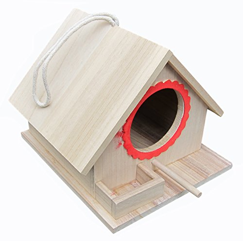 FITOOL Bird Feeding House, Bird Nesting Box, Assembled(READY TO USE),for Big Birds Like Parrot, Pigeon, Dove as well as Small Birds Like Sparrow, Tit, Lark etc
