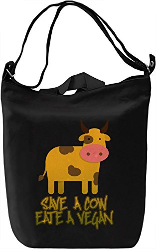 Save Cow Borsa Giornaliera Canvas Canvas Day Bag| 100% Premium Cotton Canvas| DTG Printing|