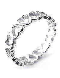 Konov Jewelry 925 Sterling Silver Love Heart Womens Ring, Silver