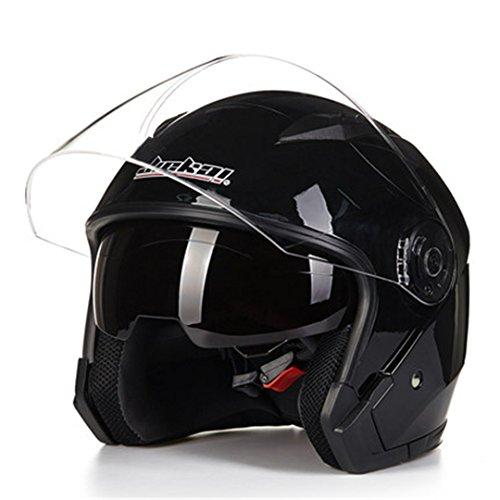 TOUKUI Helmet Motorcycle Open Face Motorcycle Racing Motorcycle Retro Helmet Double Lens bright black L (Hawk Helmet Novelty)