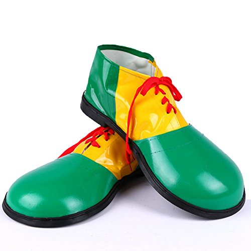 Zubita Clown Shoes, Clown Costume Accessories Artificial Leather Clowns Shoes & Circus Costume for Clown, 35 16CM, Green ()