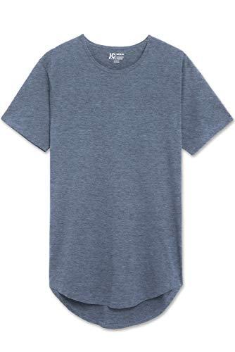 JC DISTRO Mens Hipster Hip Hop Cotton Elong Crewneck Dusty Blue T-Shirt XXLarge